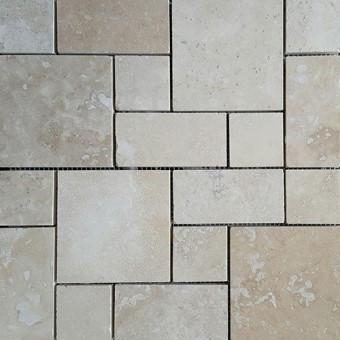 Classic Travertine Filled Honed Mosaic Tiles