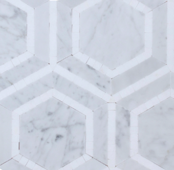 CARRARA HEXAGON THASSOS MOSAIC TILES